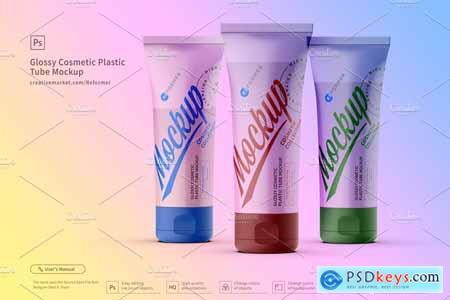 3 Cosmetic Plastic Tube Mockup
