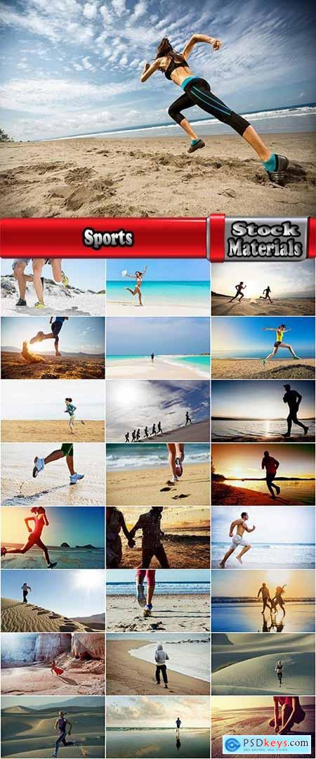 Sports training running on the sand beach sea ocean 25 HQ Jpeg