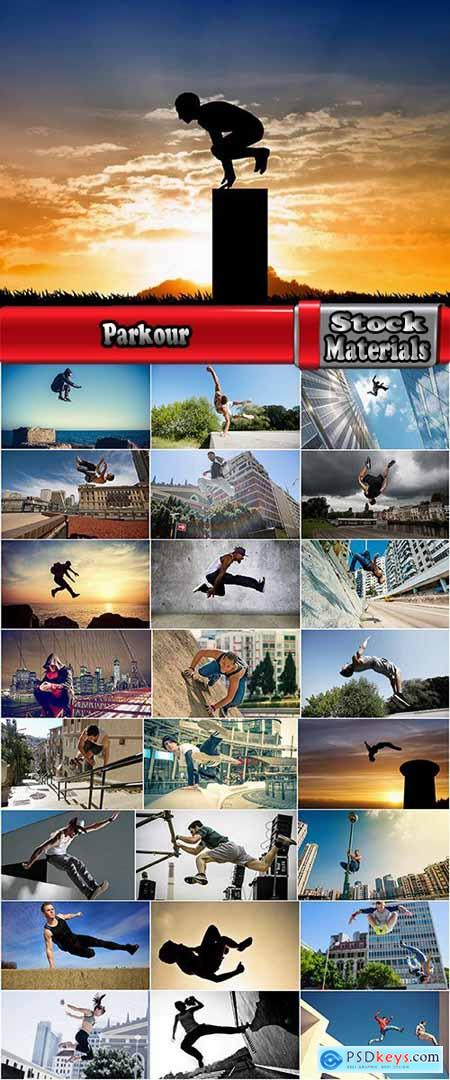 Parkour jump to overcome obstacles in the city stunt 25 HQ Jpeg