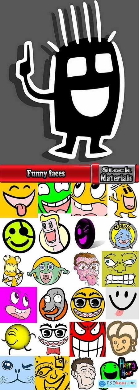 Funny faces caricature cartoon character image to be printed on the fabric T Shirt 25 EPS