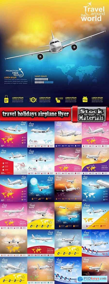 travel vacation holiday holidays airplane flyer banner poster vector image 25 EPS
