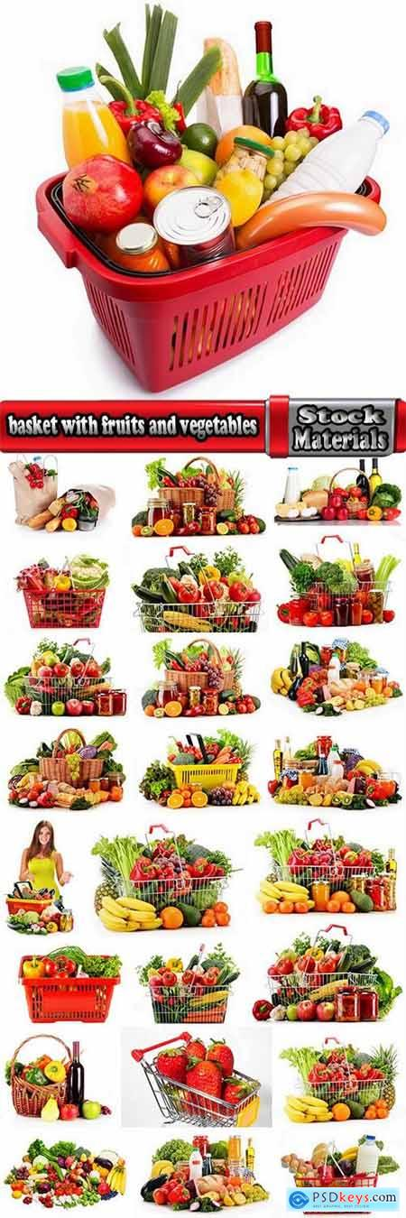 basket with fruits and vegetables supermarket shopping 25 HQ Jpeg