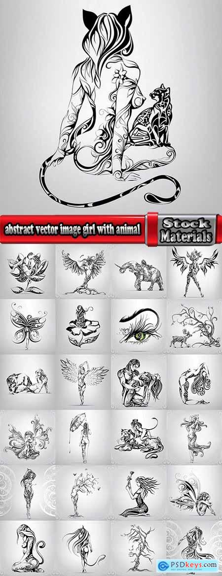 abstract vector image girl with animal-drawn tattoo 25 EPS