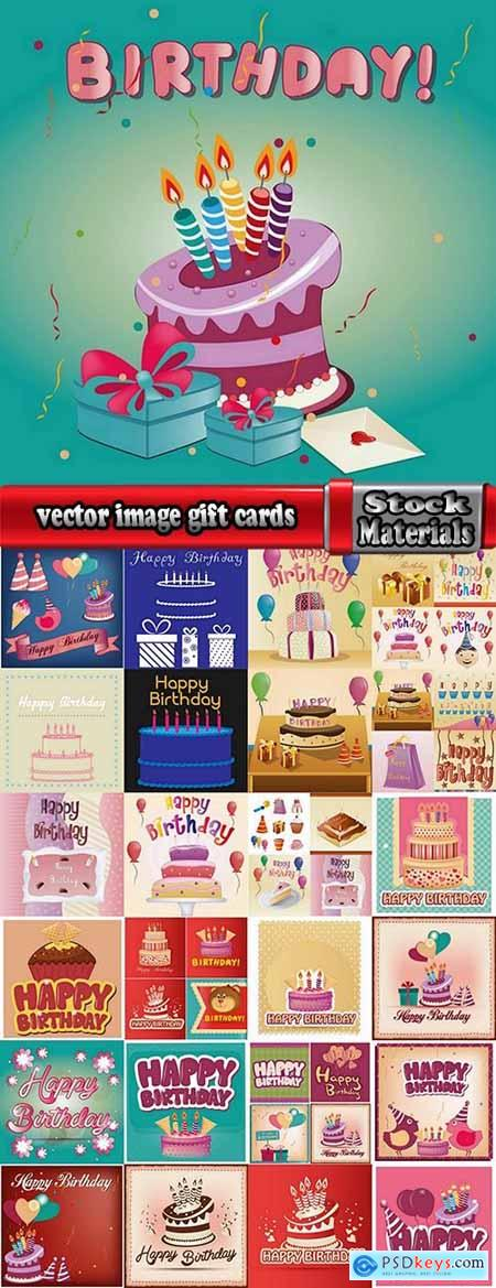 vector image gift cards birthday celebration 25 eps