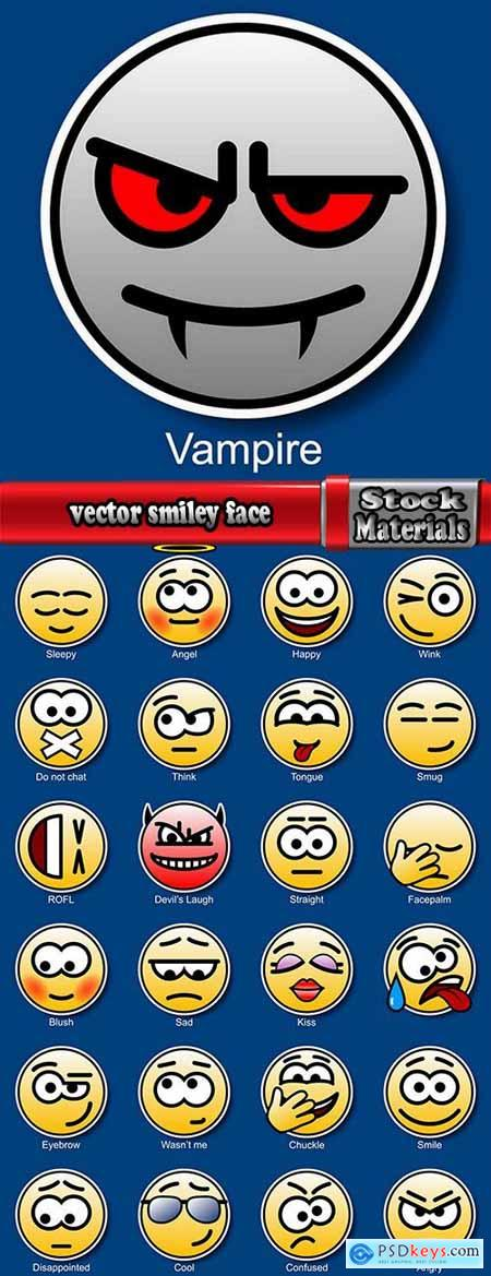 vector smiley face icon emotions 25 EPS
