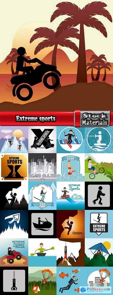 Extreme sports icon flyer banner poster 25 EPS