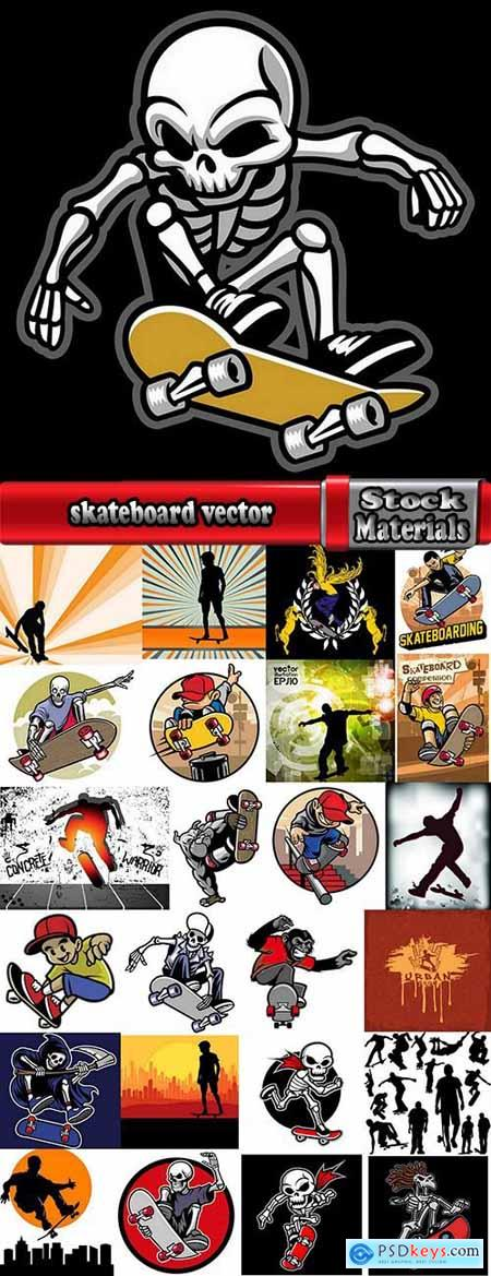 skateboard vector drawing drawing for T-shirts 25 EPS