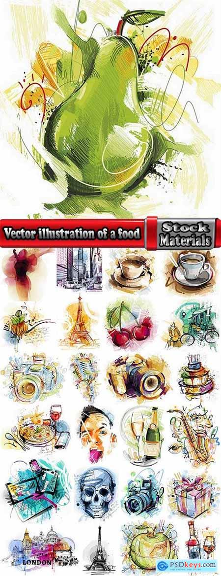 Vector illustration of a cup of food in the Tower Box 25 EPS