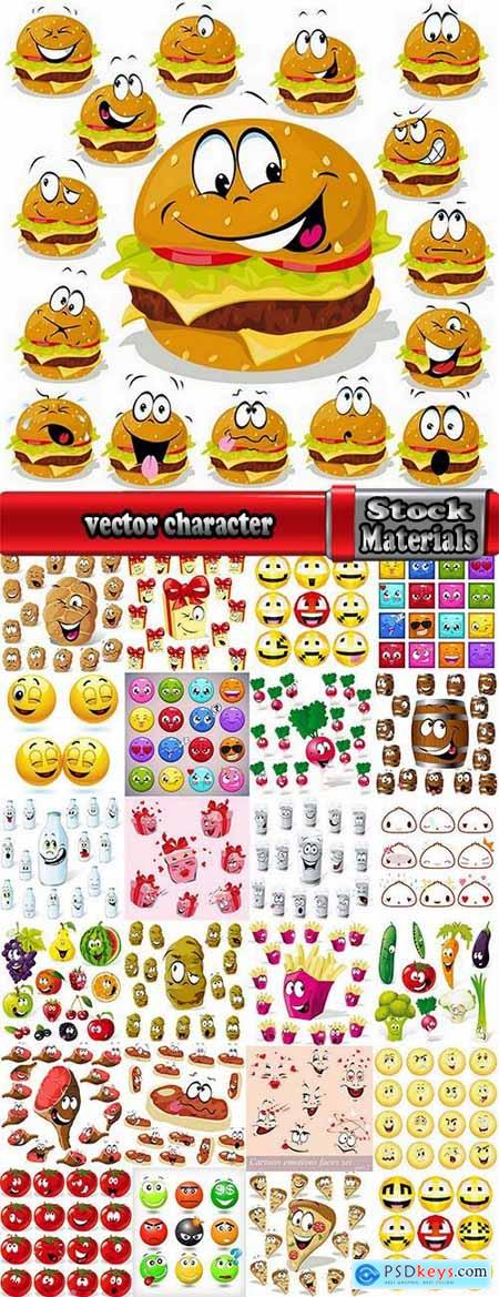 vector character picture funny smileys vegetable fruit icon 25 EPS