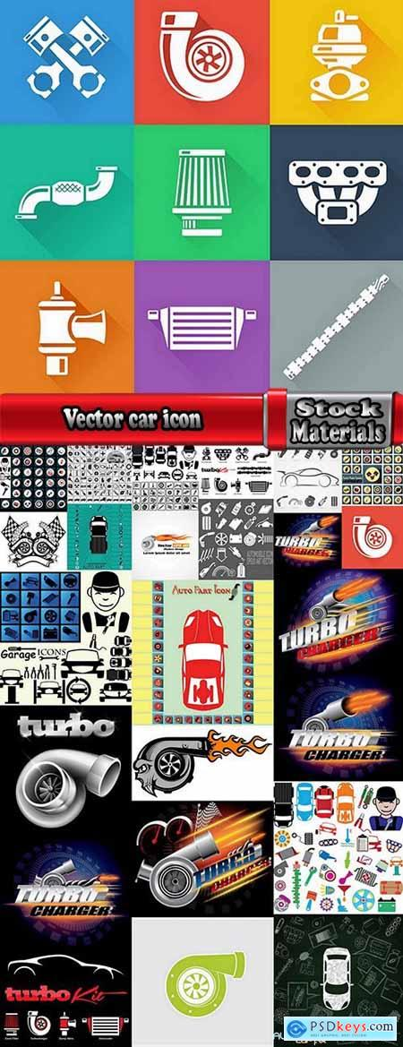 Vector car icon illustration car parts turbine turbo 25 Eps