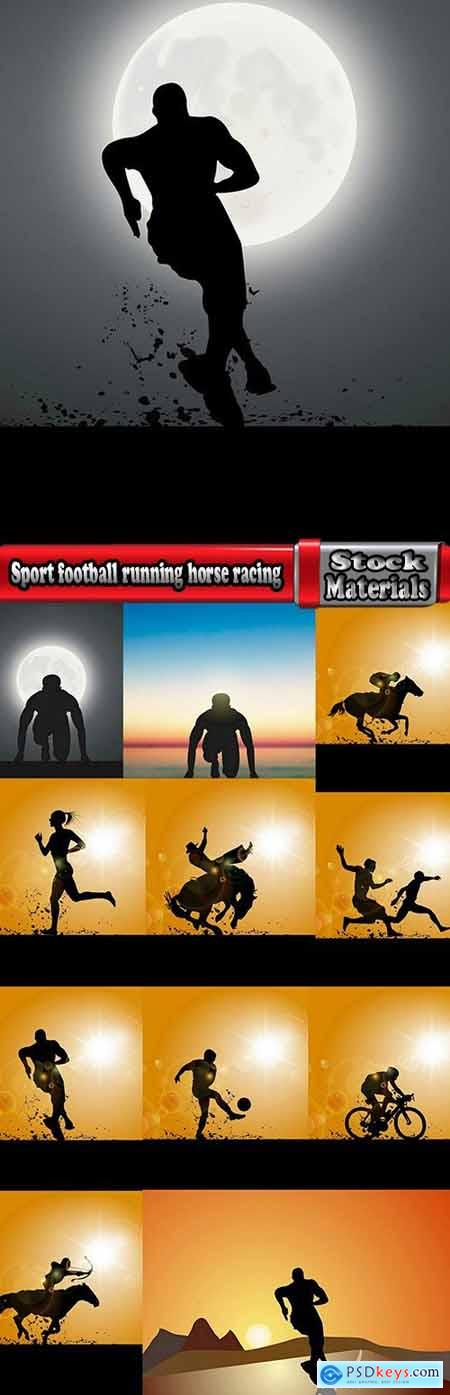 Sport football running horse racing athlete 12 EPS