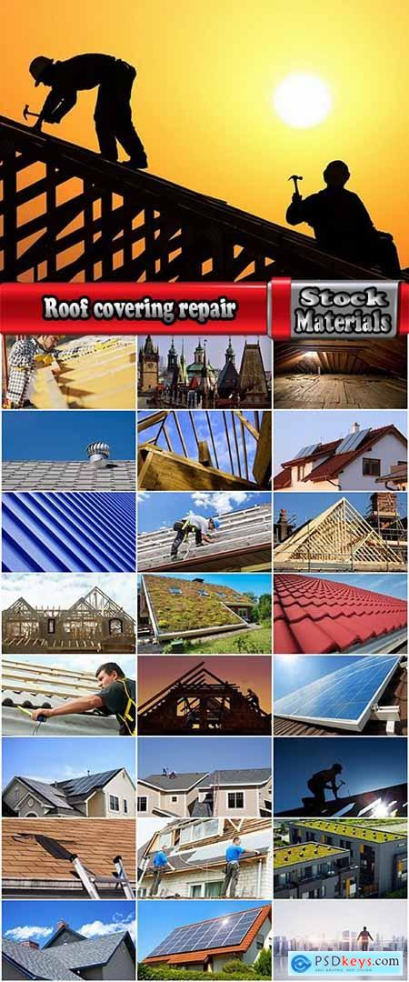 Roof covering repair solar battery on the roof vintage building wooden flooring 25 HQ Jpeg