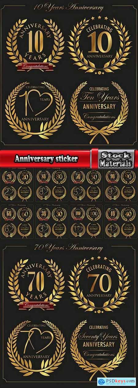 Anniversary sticker of the coat of arms icon number of a monogram frame 2-10 EPS