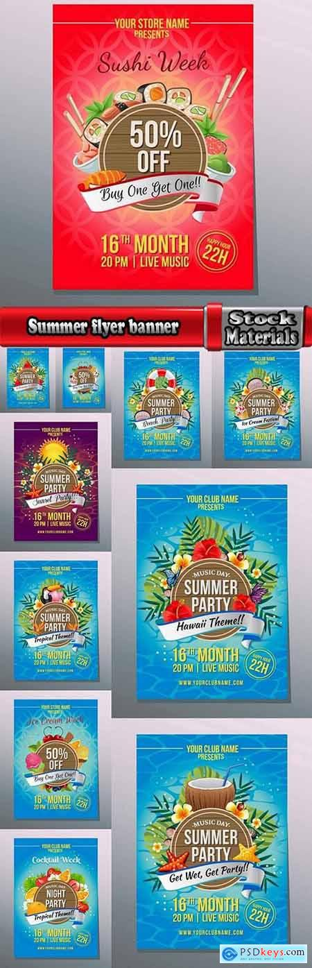 Summer flyer banner invitation card holiday entertainment 11 EPS