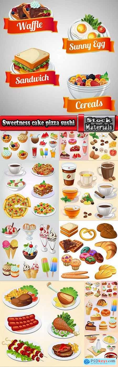 Sweetness cake pizza sushi set icon 14 EPS