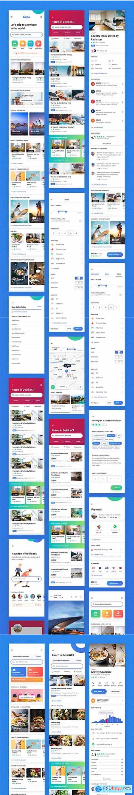 Tripto Travel and Food Mobile App UI-kit