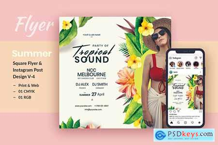 Tropical Sound Flyer & Instagram Post Template V-4