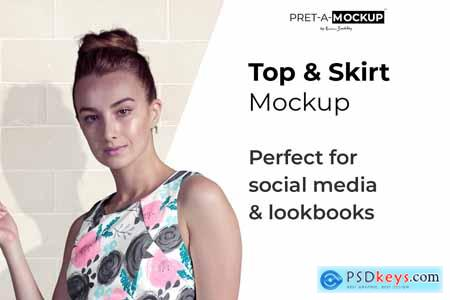 Creativemarket Top and Skirt Mockup