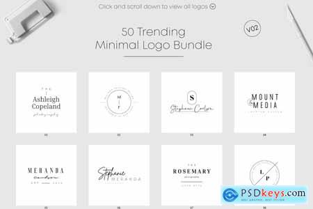 Creativemarket 50 Trending Minimal Logo Bundle V02