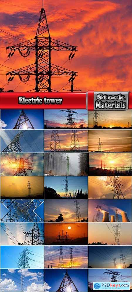 Electric tower pillar cable sunset industrialization 23 HQ Jpeg