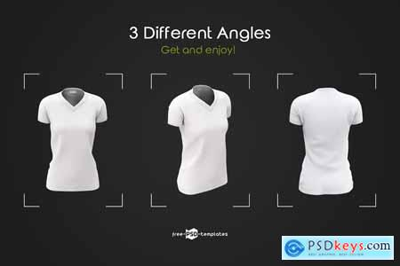 Creativemarket Womens V-Neck T-Shirts MockUp Set