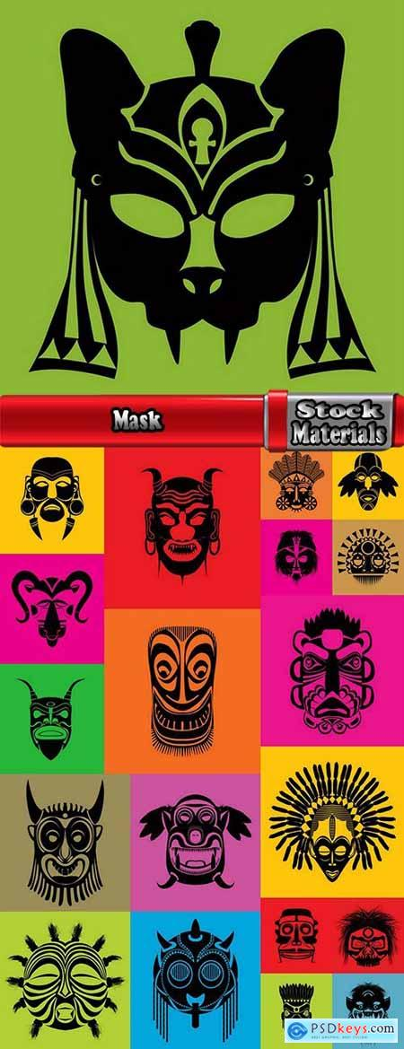 Mask for the ritual ethnic pattern print on the T-shirt background 20 EPS