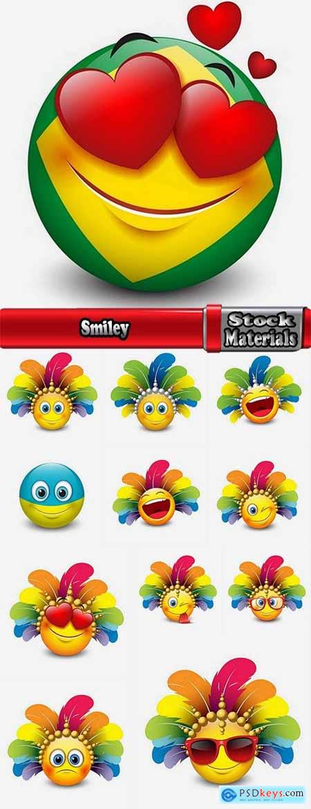 Smiley laughter emotion on the face cartoon character 12 EPS