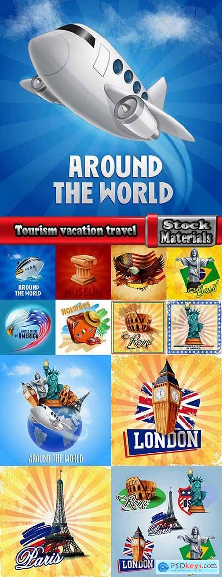 Tourism vacation travel postcard flyer banner 13 EPS