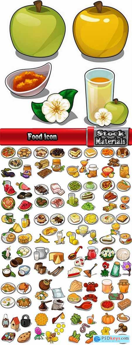 Food icon drawn drawing sweetness fruit vegetable ethnic set 25 EPS
