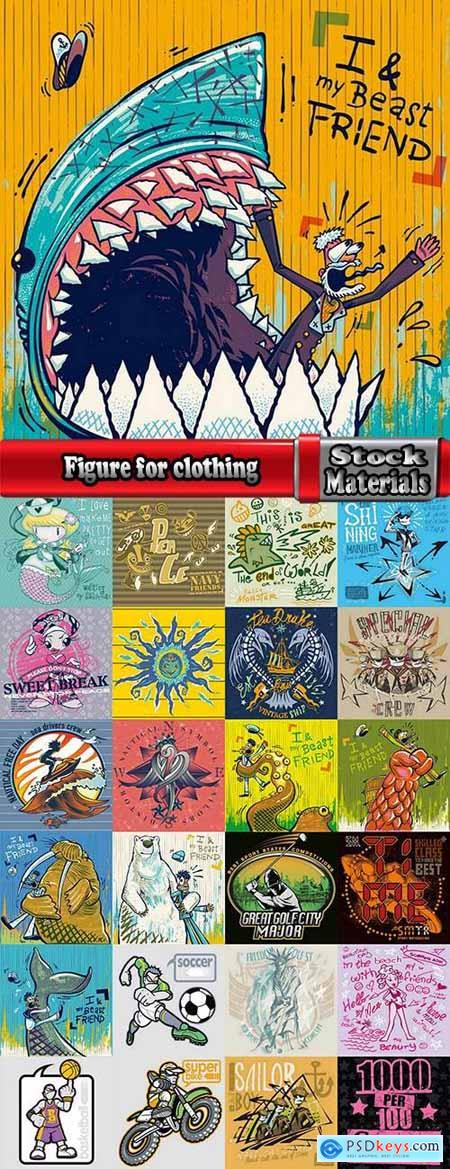 Figure for clothing stamp on T-shirt flyer banner 25 EPS