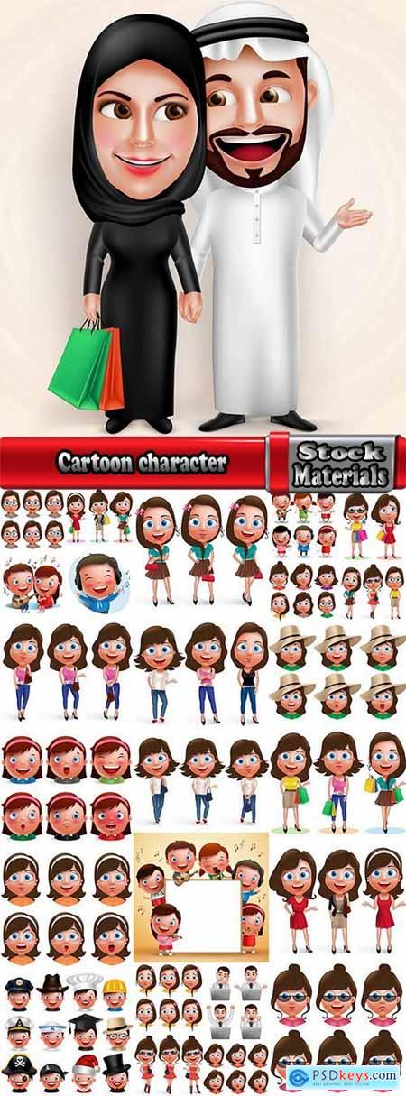 Cartoon character man icon 25 EPS