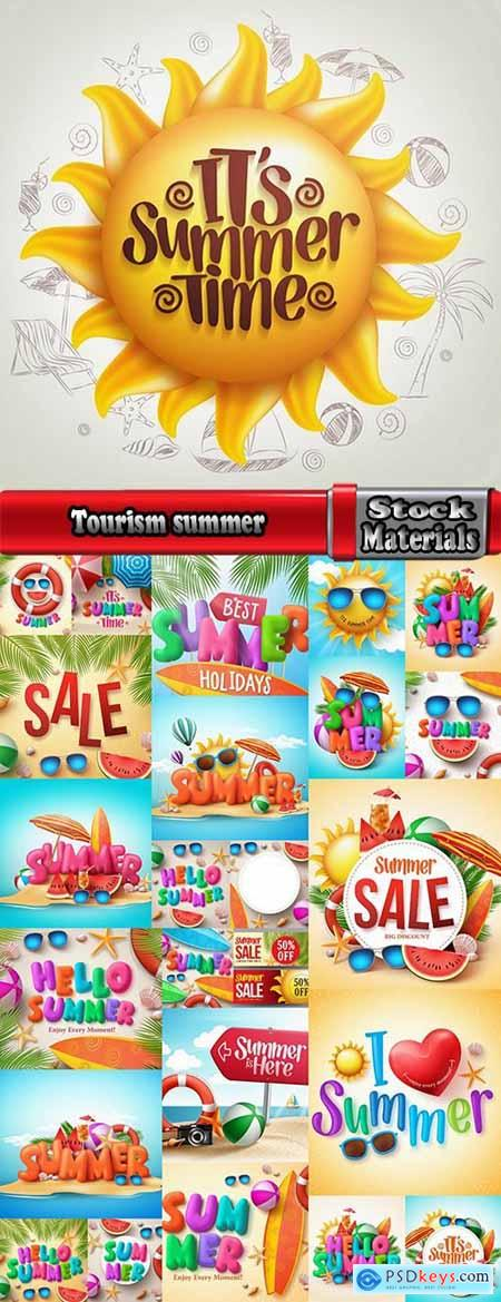 Tourism camping pathway summer vacation vacation banner flyer postcard 2-25 EPS