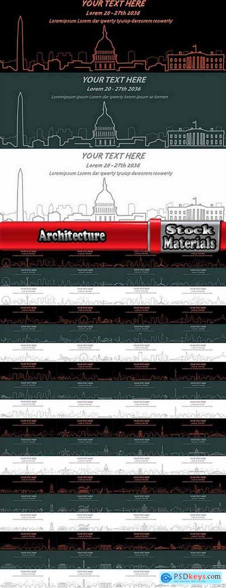 Architecture of the countries flyer banner city business map 25 EPS