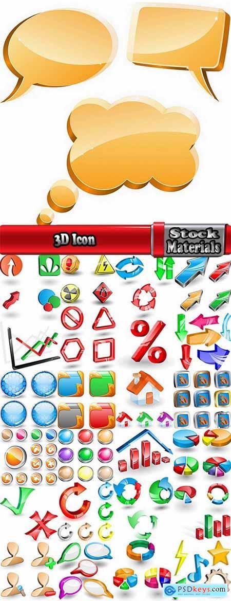 3D Icon decorative design element Web sites 25 EPS