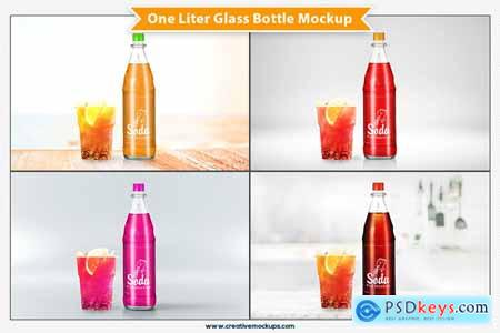 Creativemarket One Liter Glass Bottle Mockup