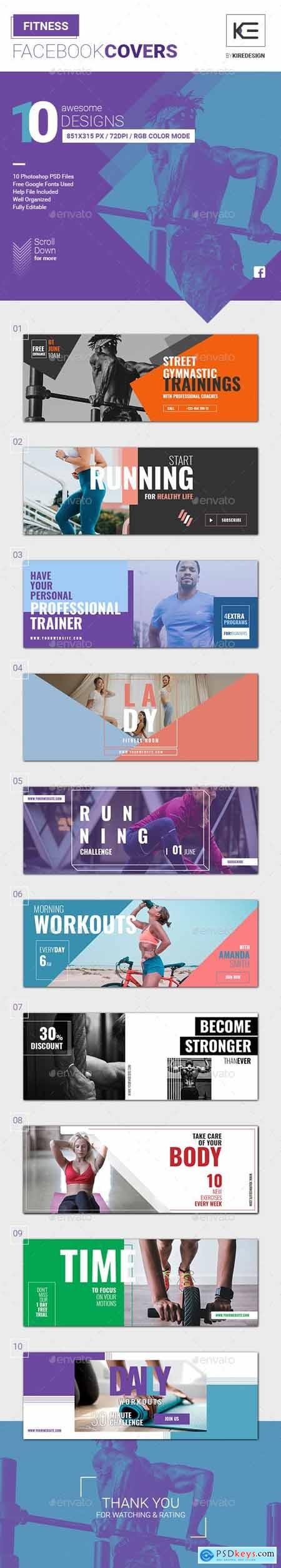 Graphicriver 10 Fitness Facebook Covers