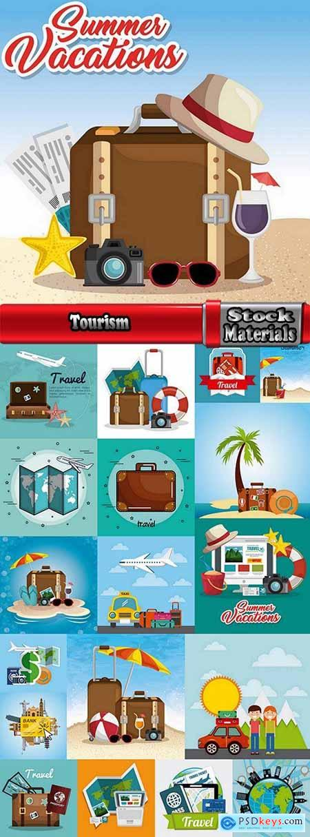 Tourism camping pathway summer vacation vacation banner flyer postcard 19 EPS
