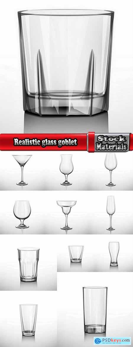 Realistic glass goblet wine glass cup 12 EPS