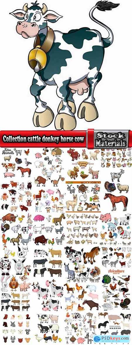 Collection cattle donkey horse cow chicken bull cock rooster goose dog animals 25 EPS