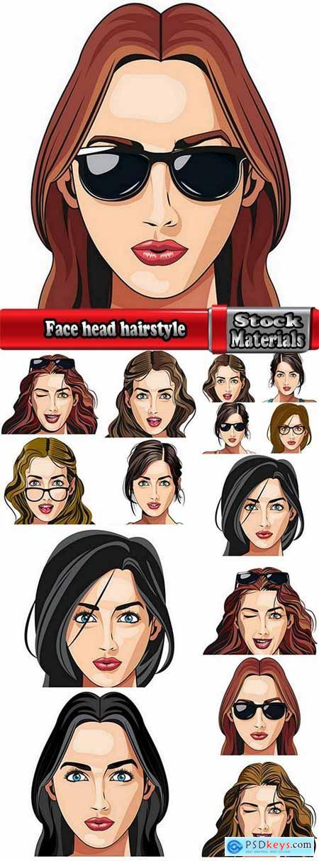 Face head hairstyle girl woman 15 EPS