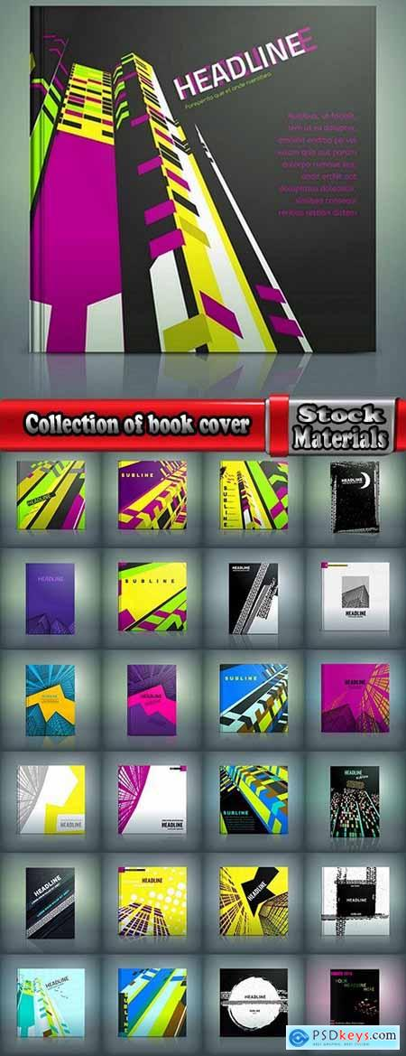 Collection of book cover flyer magazine booklet with infographics vector image 7-25 EPS