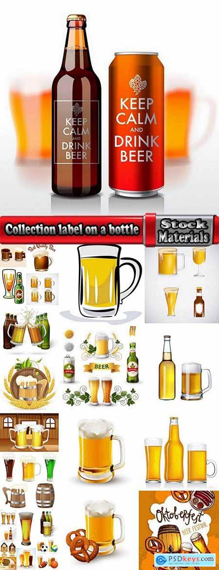 Collection label on a bottle of beer vector image 2-25 EPS