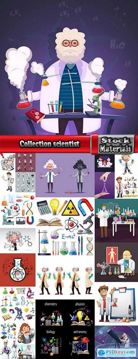 Collection physicist chemist astronomer scientist icon science cartoon character 25 EPS