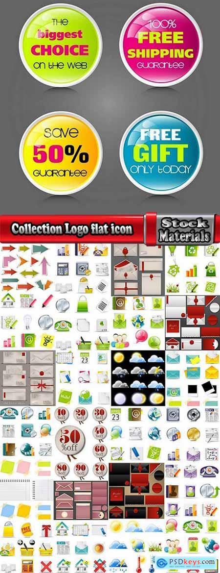 Collection Logo flat icon web design element site 89-25 EPS