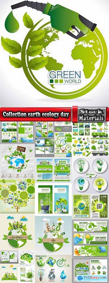 Collection earth ecology day holiday flyer banner cleanliness icon sticker 25 EPS