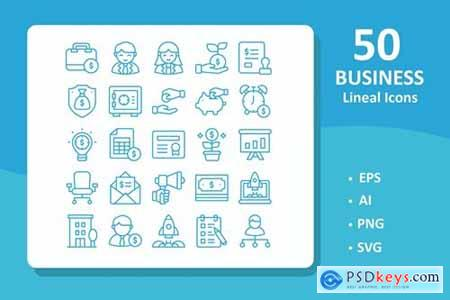 50 Business Icons ( Line ) » Free Download Photoshop Vector Stock