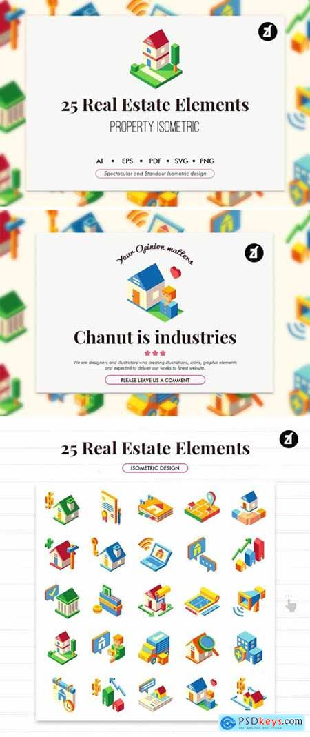 25 Real estate isometric elements
