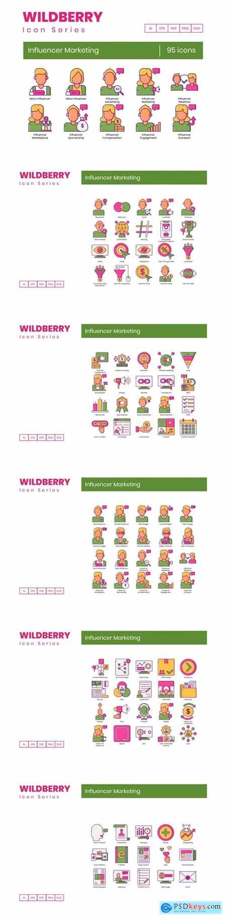 95 Influencer Marketing Icons Wildberry Series
