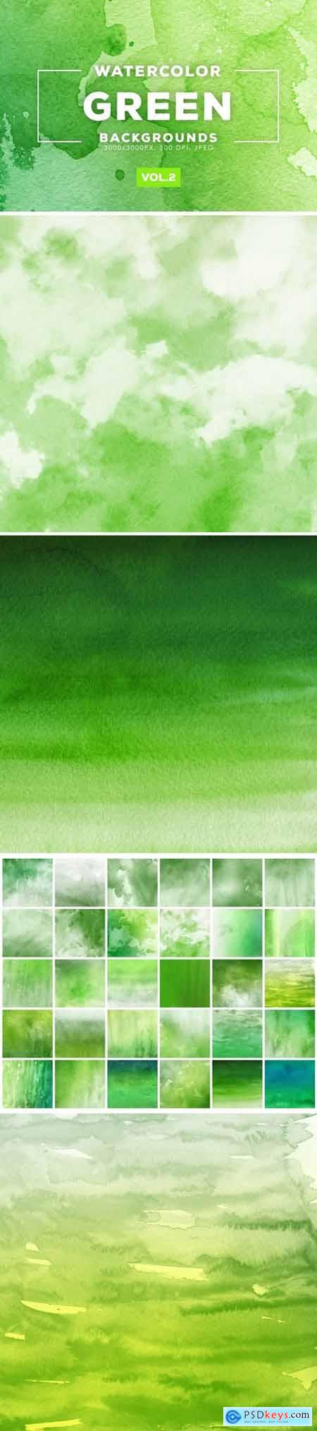 Watercolor Green Backgrounds Vol.2