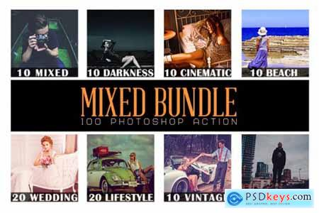 100 Mixed Bundle Photoshop Action